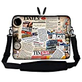 Meffort Inc 15 15.6 inch Neoprene Laptop Sleeve Bag Carrying Case with Hidden Handle and Adjustable Shoulder Strap - Newspaper Clip Design