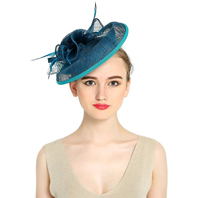KAXIDY Donne Cappelli Cerimonia Piuma Fiore Partito Matrimonio Cappello  (Blu)  Amazon.it  Abbigliamento 17efe67f2c12