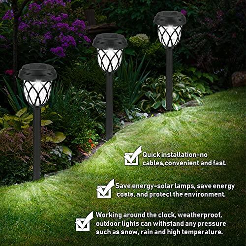 Solarleuchten Garten, 6 Stück Kaltesweiß Solarlampen für Außen Garten, Solar Gartenleuchte Wasserdicht Solarleuchte, LED Garten Dekoration Licht Solar Wegeleuchte für Gartendeko Terrasse Rasen Hofwege