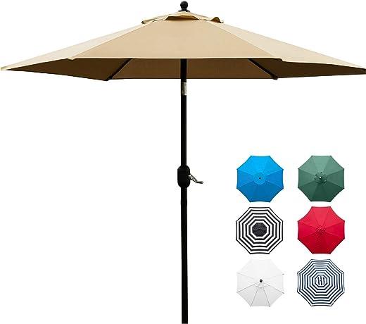 Sunnyglade 7.5' Patio Umbrella Outdoor Table Market Umbrella with Push Button Tilt/Crank,...