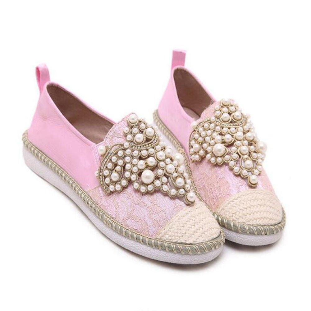 GAOLIXIA Damenschuhe Pearl Casual Flats Schuhe Einzelne Schuhe Comfort Walking schuhe Outdoor Fischer Schuhe Rosa Aprikose