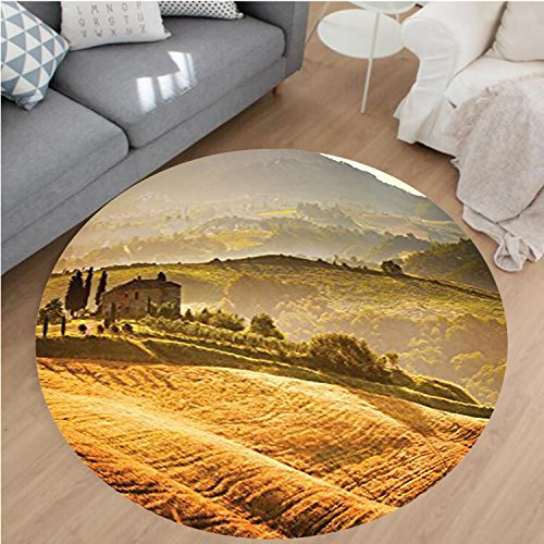 Nalahome Modern Flannel Microfiber Non-Slip Machine Washable Round Area Rug-scany Vineyard Retro Farmhouse Cypress Trees and Sunset Picture Accessories Mustard Green area rugs Home Decor-Round (Vineyard Brown Area Rug)