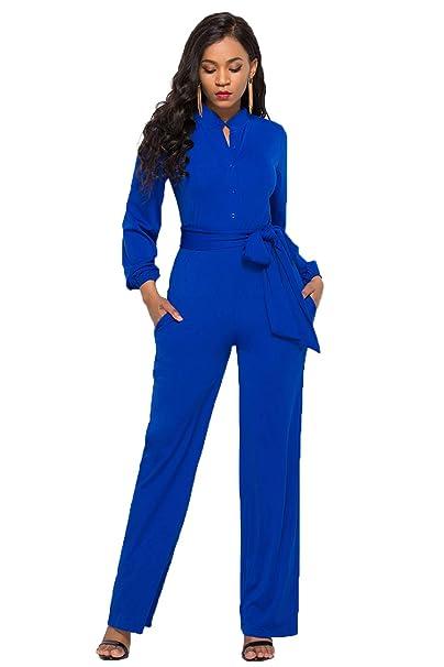 e7adc501217 Mujer Rojo Largo Fiesta Talla Grande Mangas Largas Slim Monos Jumpsuits  Elegante Pantalones Pierna Ancha con Cinturón para Playa Business Oficina y  Fiesta ...
