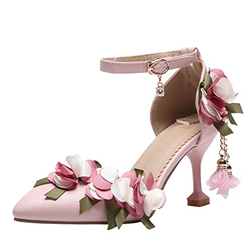 Amazon latasa womens pointed toe high heel flower sandal latasa womens pointed toe high heel flowers sandals 10 pink mightylinksfo
