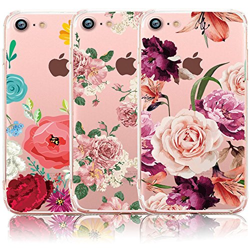iPhone 7 Case, iPhone 8 Case, [3-Pack] CarterLily Watercolor Flowers Floral Pattern Soft Clear Flexible TPU Back Case for iPhone 7 iPhone 8 4.7 (Flowers)