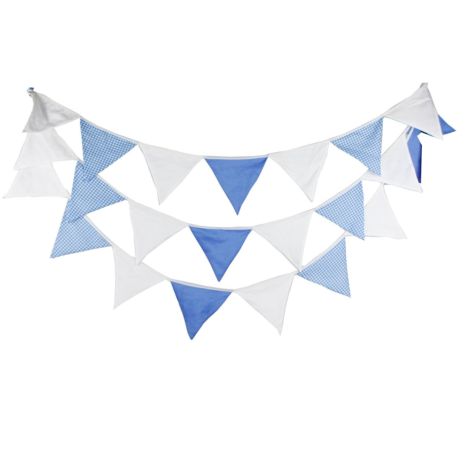 16 Feet Extra Long Blue White Solid Plaid Fabric Bunting Banner for Wedding Garland Boy Baby Shower Neutral Birthday Party Nursery Hanging Pennant Garden Patio Decoration AllHeartDesires