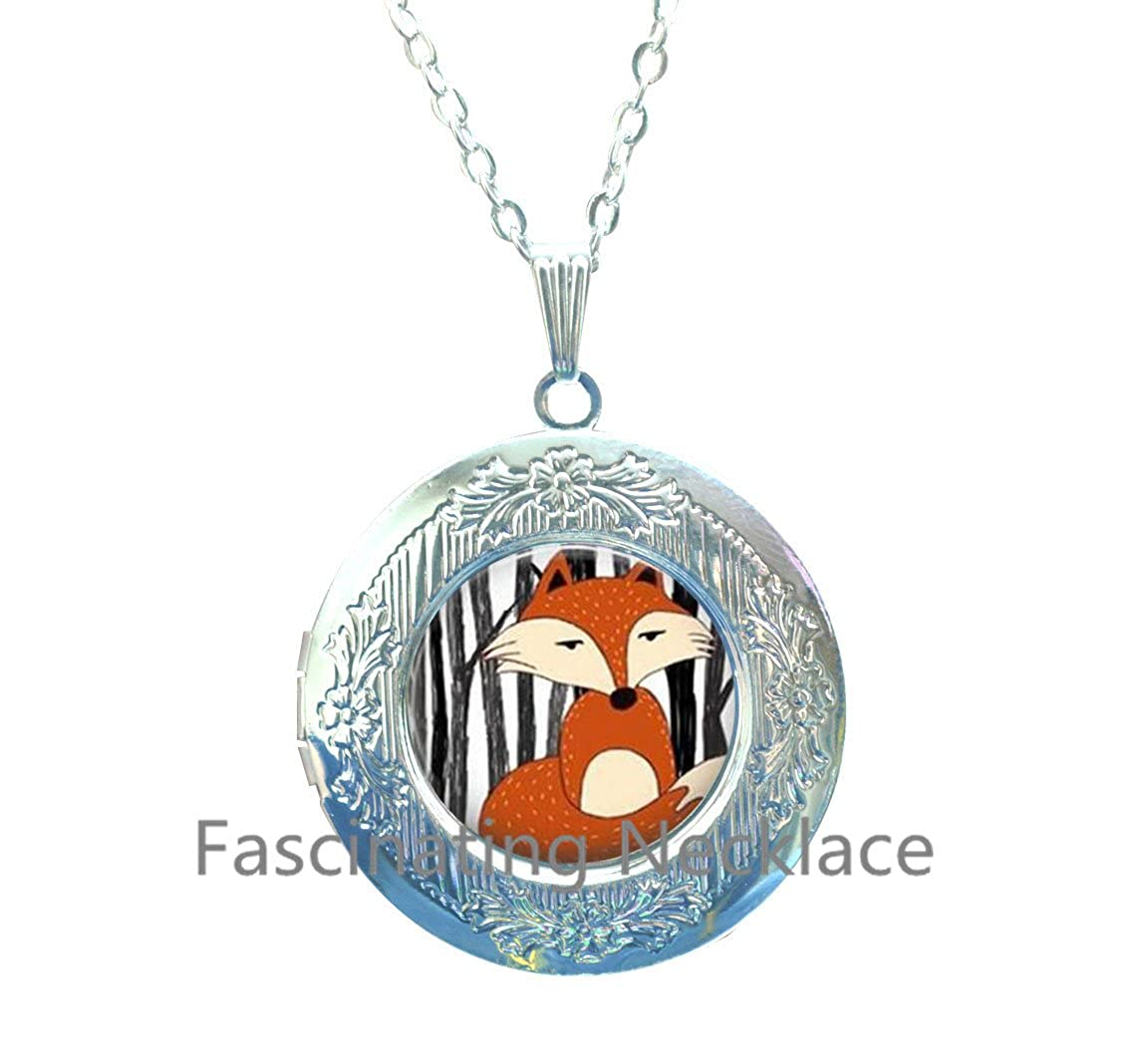 Wholesale jewelr Hot Glass Dome fox collar creature watercolor glass Woodland Art Locket Pendant Locket Necklace for Sliver statement Locket Necklace,AE0076