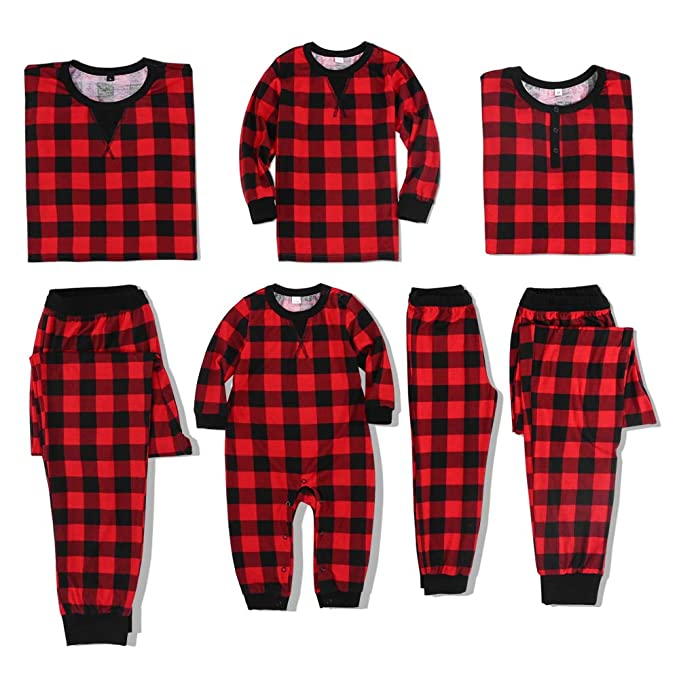 6434aa73f6 Amazon.com  PatPat Family Jammies Holiday Matching Pajamas Plaid ...