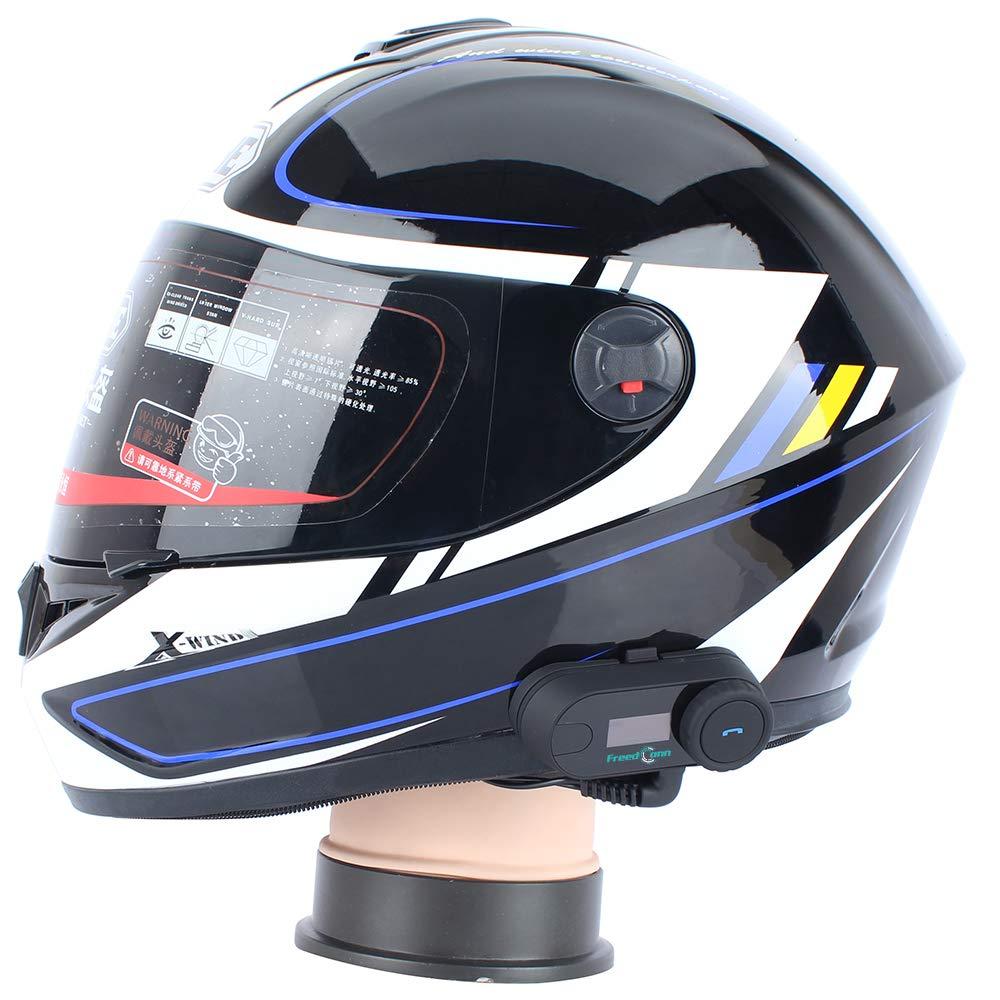 LCD Screen//FM Radio//Hands Free//Range 800 M// 2~3 Riders Pairing//Black//Pack of 1 Helmet Communication Systems FreedConn TCOM-SC Motorbike Helmet Bluetooth Headset Intercom for Motorcycle Skiing