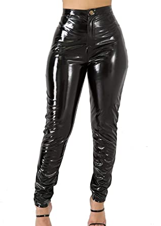 5cfdcd4257699 VNVNE Women's Sexy Hight Waist Latex Pants PU Leather Lined Legging Wet Look  Trousers (S