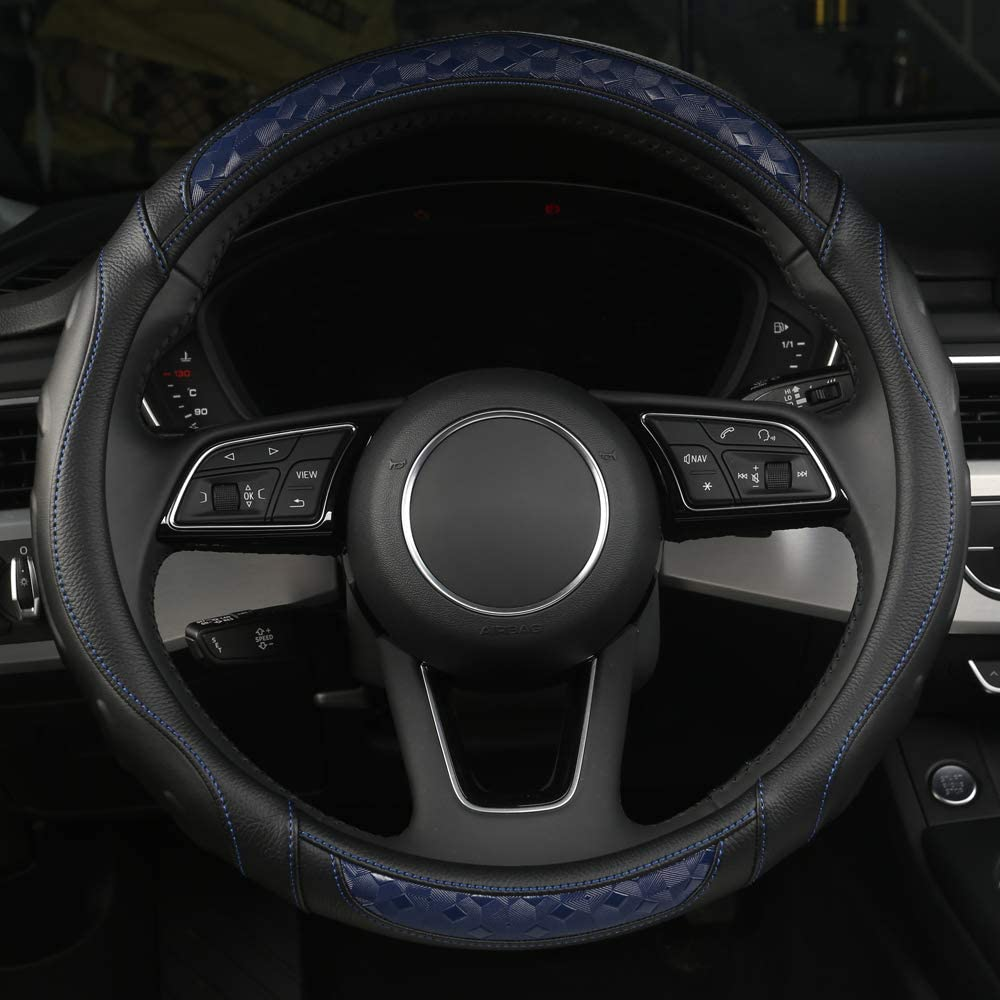 Universal 15 Inch Breathable Anti-Slip Auto Steering Wheel Protector Microfiber Leather Car Steering Wheel Cover with Grip Contours BLACK-BLUE