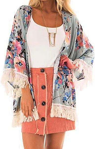 Kimono Femme Veste Cardigan Fleuri Fluide Léger Plage