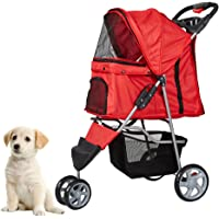 KARMAS PRODUCT Pet Stroller for Dog Cat Small animal Folding Walk Jogger Travel Carrier Cart with Three Wheels/Four Wheels