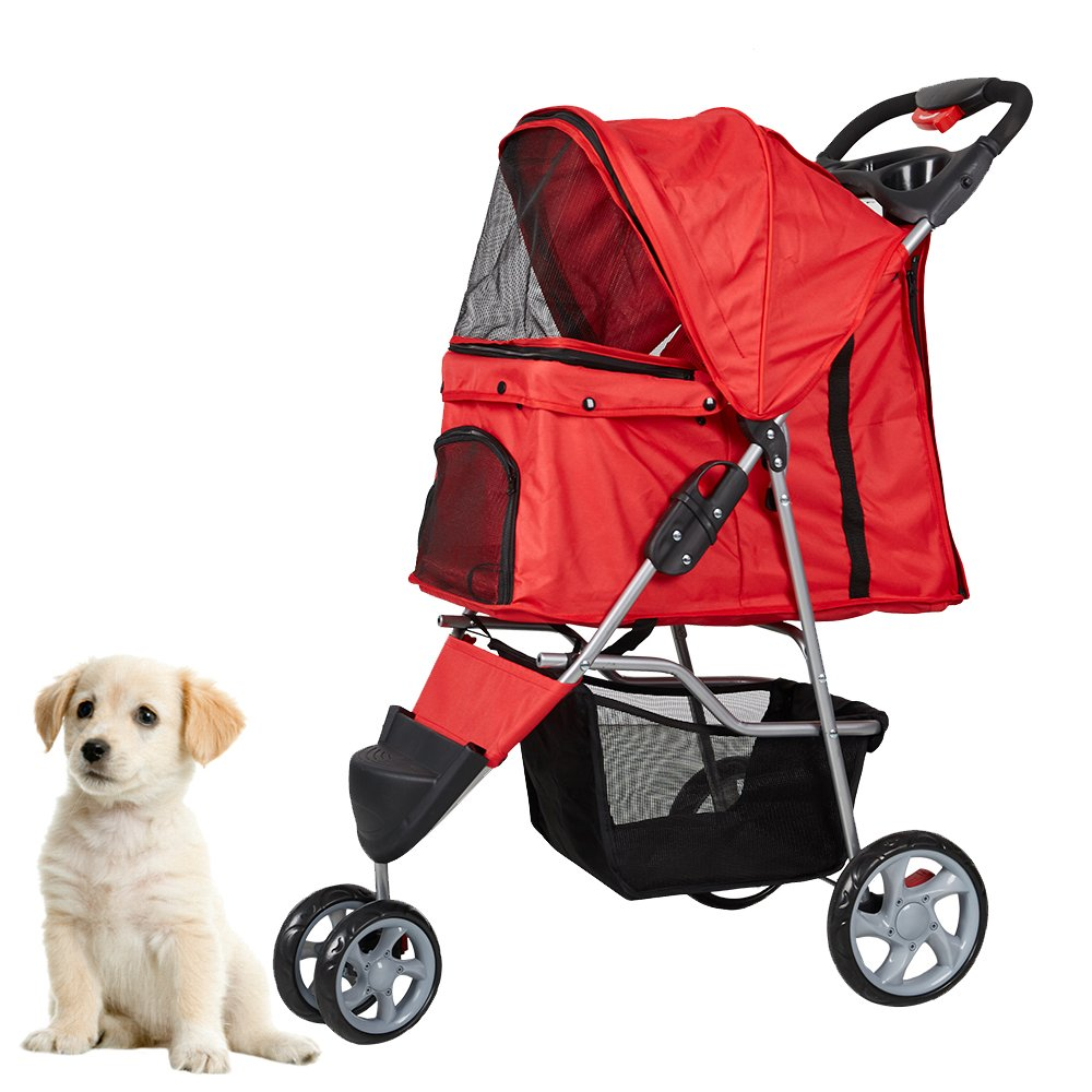 KARMAS PRODUCT Pet Stroller for Dog Cat Small animal Three Wheels Folding Walk Jogger Travel Carrier Cart, Red