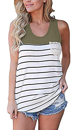edaf233fd1e Chvity Women's Crochet Pocket Color Block Sleeveless T-Shirts Racerback  Tank Tops (S,