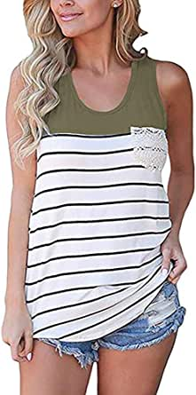 Chvity Women's Crochet Pocket Color Block Sleeveless T-Shirts Racerback Tank Tops