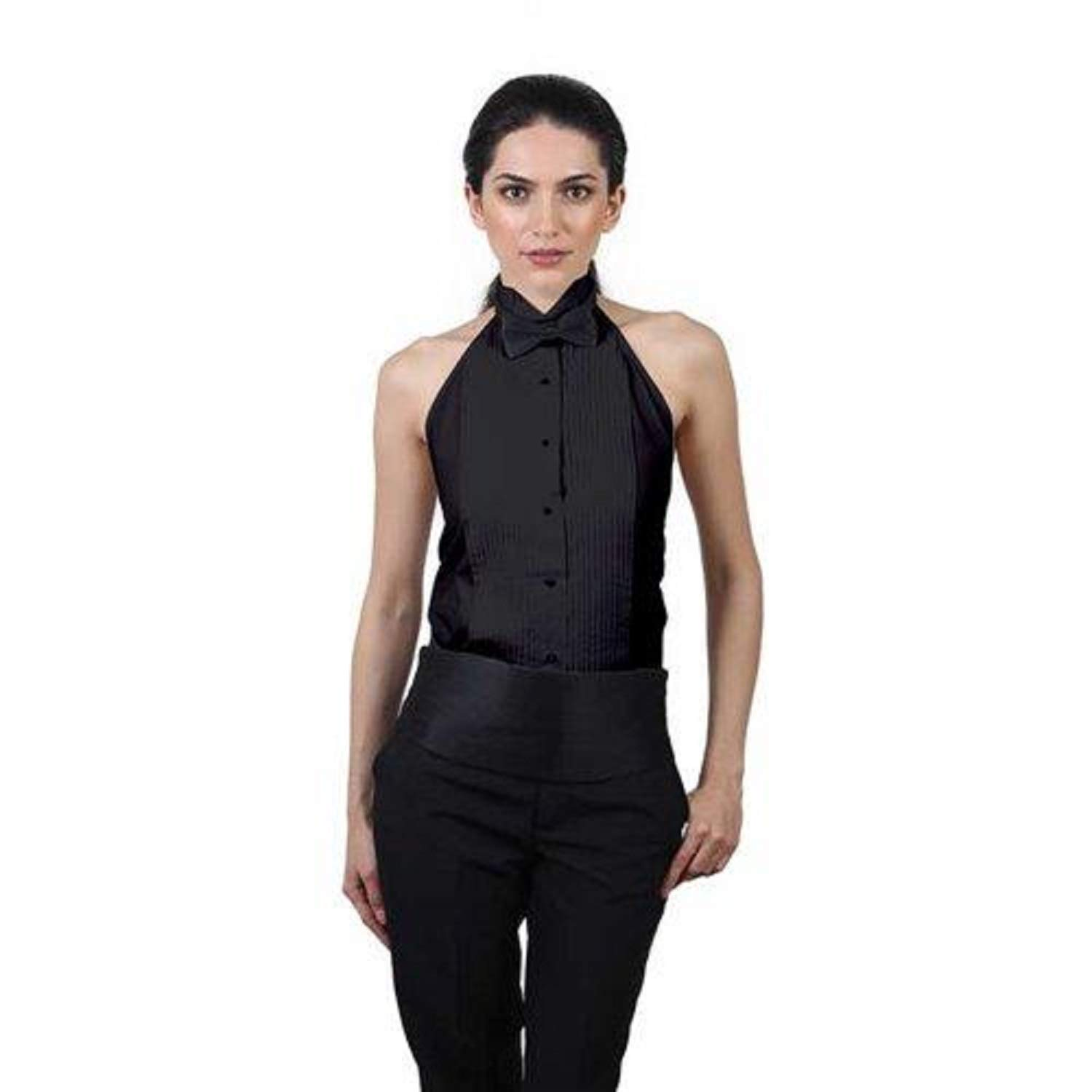 Women's Black Tuxedo Halter Shirt and Black Bow Tie Set (S (6-8)) by SixStarUniforms
