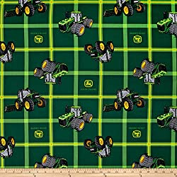 Springs Creative Products John Deere Square Plaid Tractors Green Fabric by The Yard