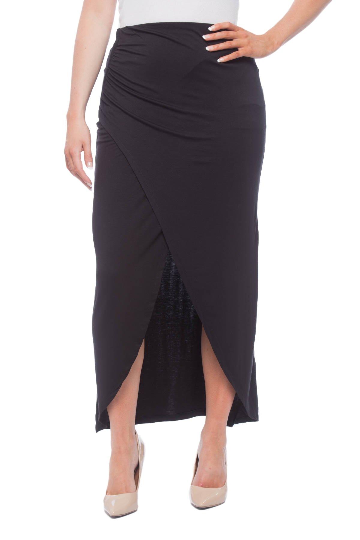 New York & Company Women's Wrap style Maxi Skirt Black M
