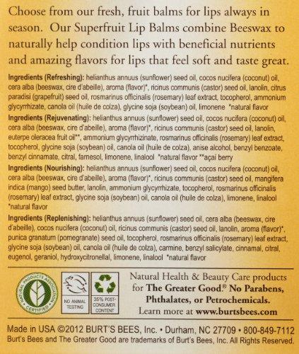 Burt's Bees Lip Balm, Superfruit, 0.15 oz, 4 pk