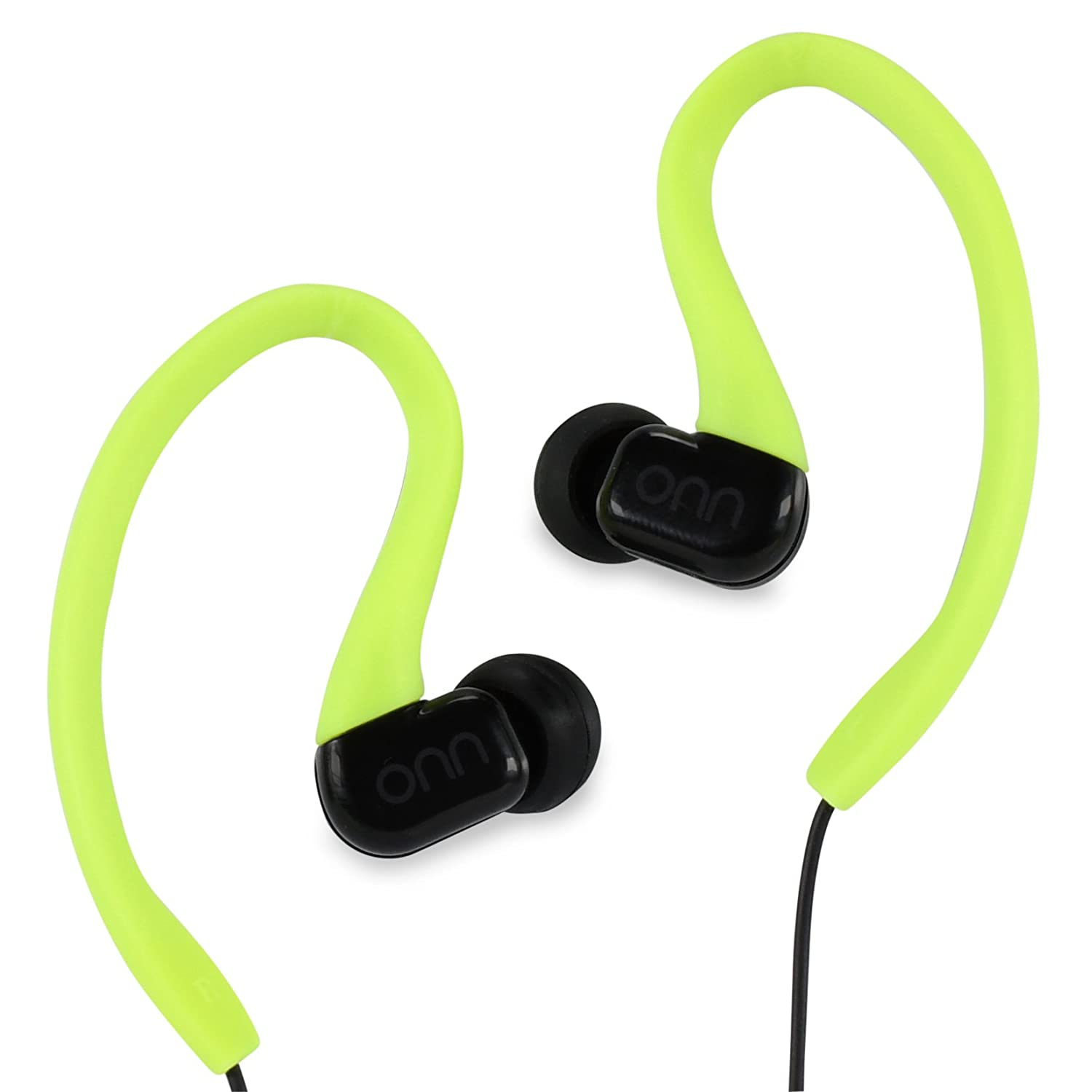 ONN Outdoor Activity Style Sports Soft Loop Hanger Vertical In-Ear Clips Earbud Headphones Earbuds with In-Line One-Touch Microphone, Neon Yellow Black Non-Retail Packaging