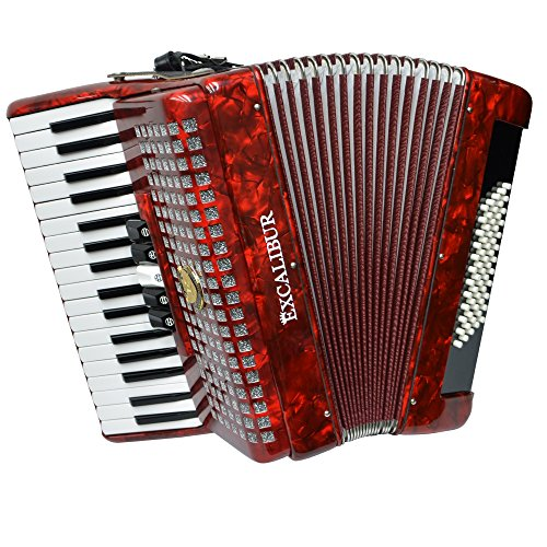 Excalibur Super Classic Accordion - 60 Bass - High Polish Red by Excalibur Accordions
