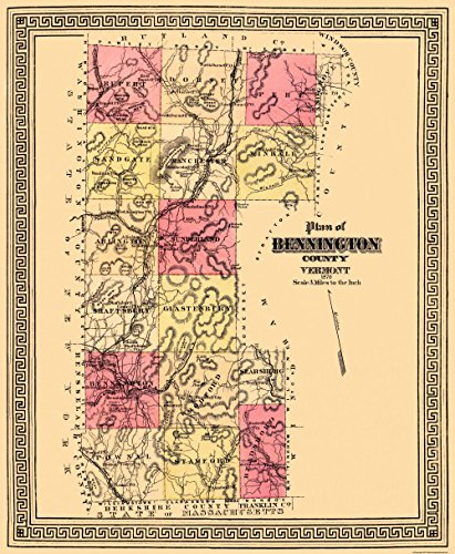 Old County Map - Bennington Vermont - 1876 - Glossy Satin Paper