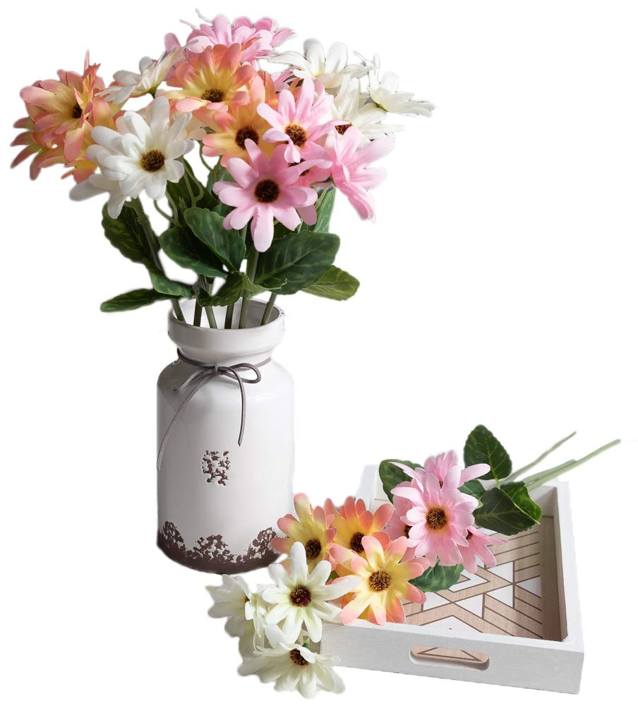 silk flower arrangements skflo daisy silk spring flowers decorations - 9 stems per bunch in 3 colors – handmade daisies artificial flowers – decorative centerpiece – flower arrangements décor for weddings, dove bloom home