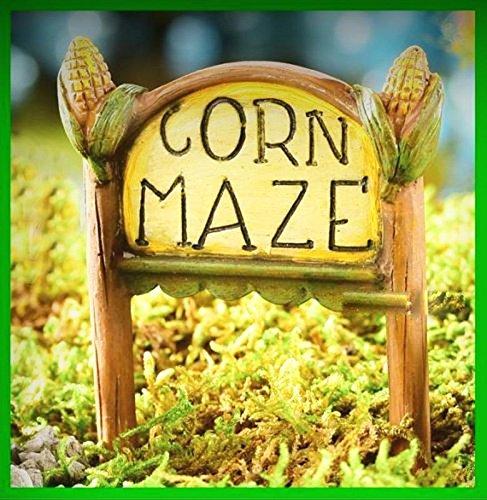 Miniature Dollhouse Fairy Garden Corn Maze Sign Halloween Thanksgiving 203 - My Mini Fairy Garden Dollhouse Accessories for Outdoor or House Decor ()