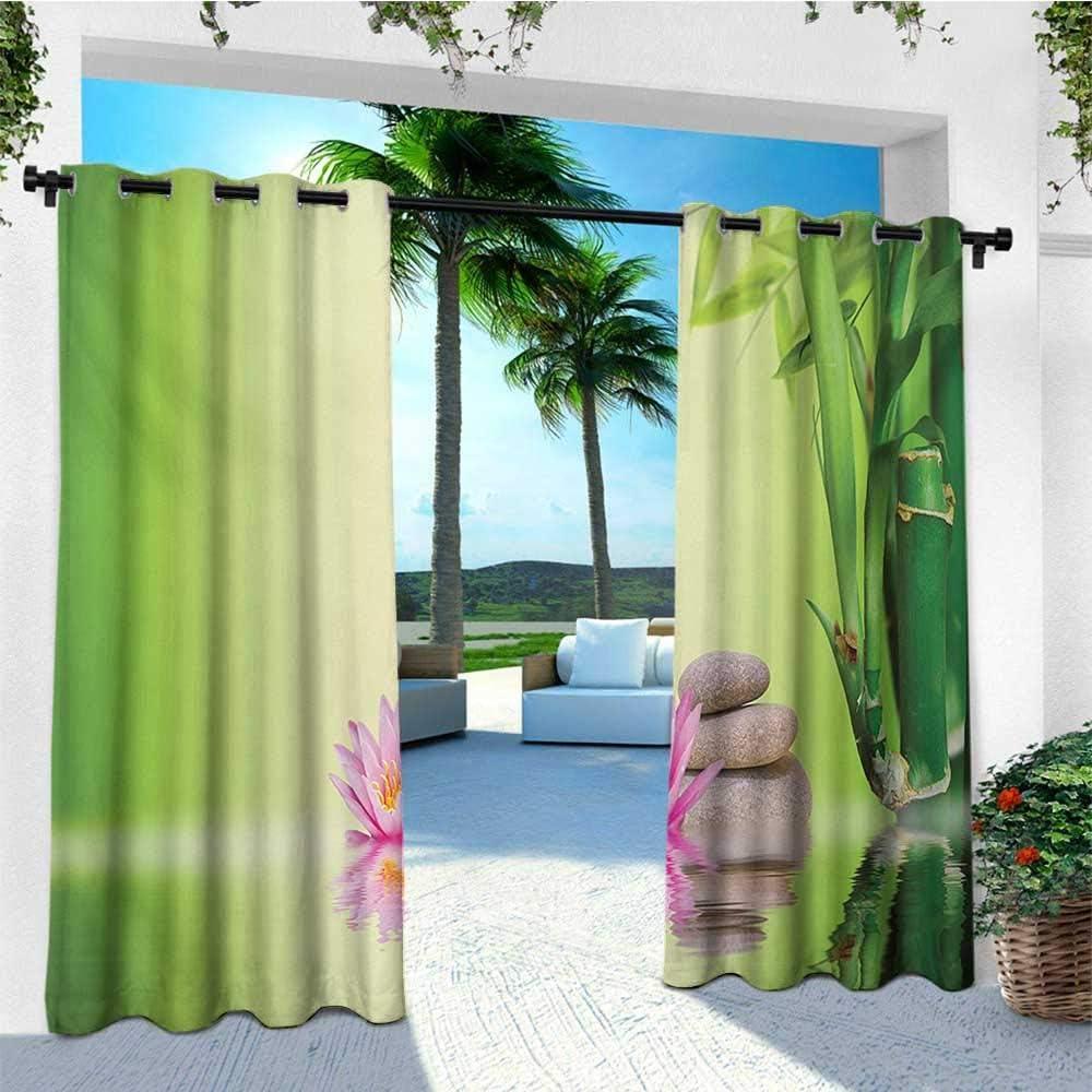 Leinuoyi Spa, arandela de cortina para exteriores, tres piedras de masaje caliente en el medio de la arena blanca, diseño de ondas, cortinas de porche de privacidad al aire libre, color gris