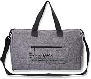 Canvas Duffle Bag Duffel Shoulder Sport Gym School Mens Women Travel Carry on with Pouch 20 x 14 x 8 Inches Grey