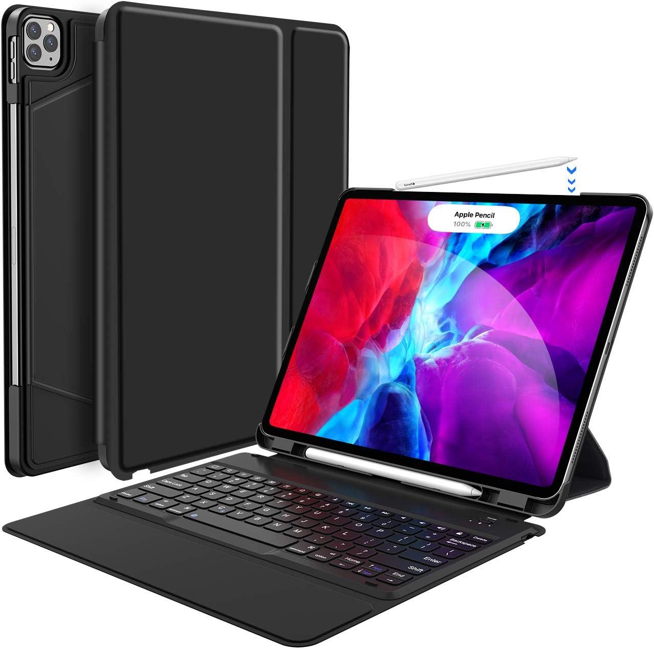 Keyboard Case for iPad Pro 12.9 2020-4th Gen/ 2018 3rd Gen, One-Piece Wireless Keyboard - Ultra-Slim - Auto Wake Sleep - iPad Pro 12.9 Case with Keyboard - Compatible with Apple Pencil, Black