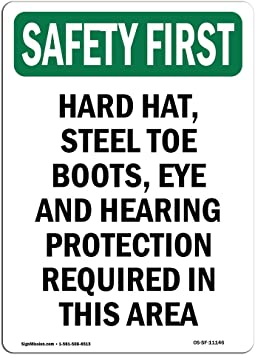 Made in the USA Closed Toed Shoes With Symbol OSHA SAFETY FIRST Sign