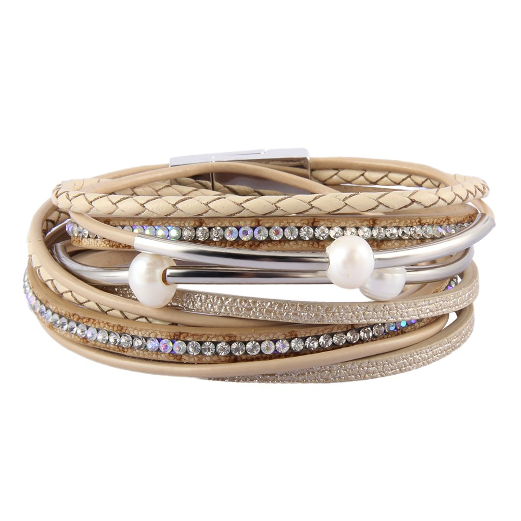 Popeoiuh Leather Bracelet for Women,Beige Multilayer Rope Wrap Cuff Bracelet Fashion Pearl Rhinestone Hand Woven Jewelry Birthday Gifts for Mother, Wife,Teens Girls