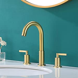 KINGO HOME Widespread Bathroom Sink Faucet 2 Handles 3 Holes Durable Brushed Gold Bathroom Faucet, Vanity Faucet with Water Supply Lines