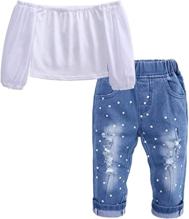 LNGRY Baby Outfits,Toddler Infant Kid Girls Fashion Off Shoulder Tops+Pearl Denim Pants Jeans Outfits Set
