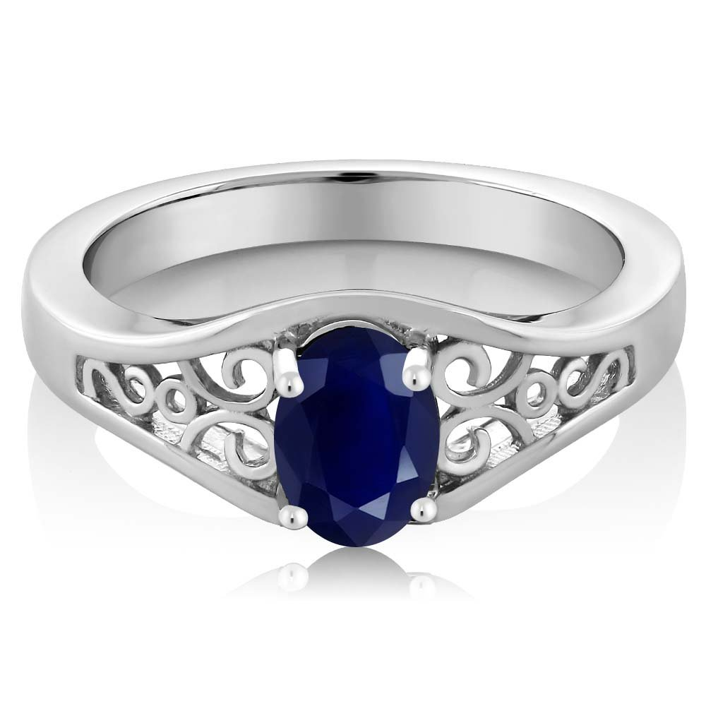 Gem Stone King Sterling Silver Blue Sapphire Gemstone Birthstone Women s Ring 1.02 cttw Available 5,6,7,8,9