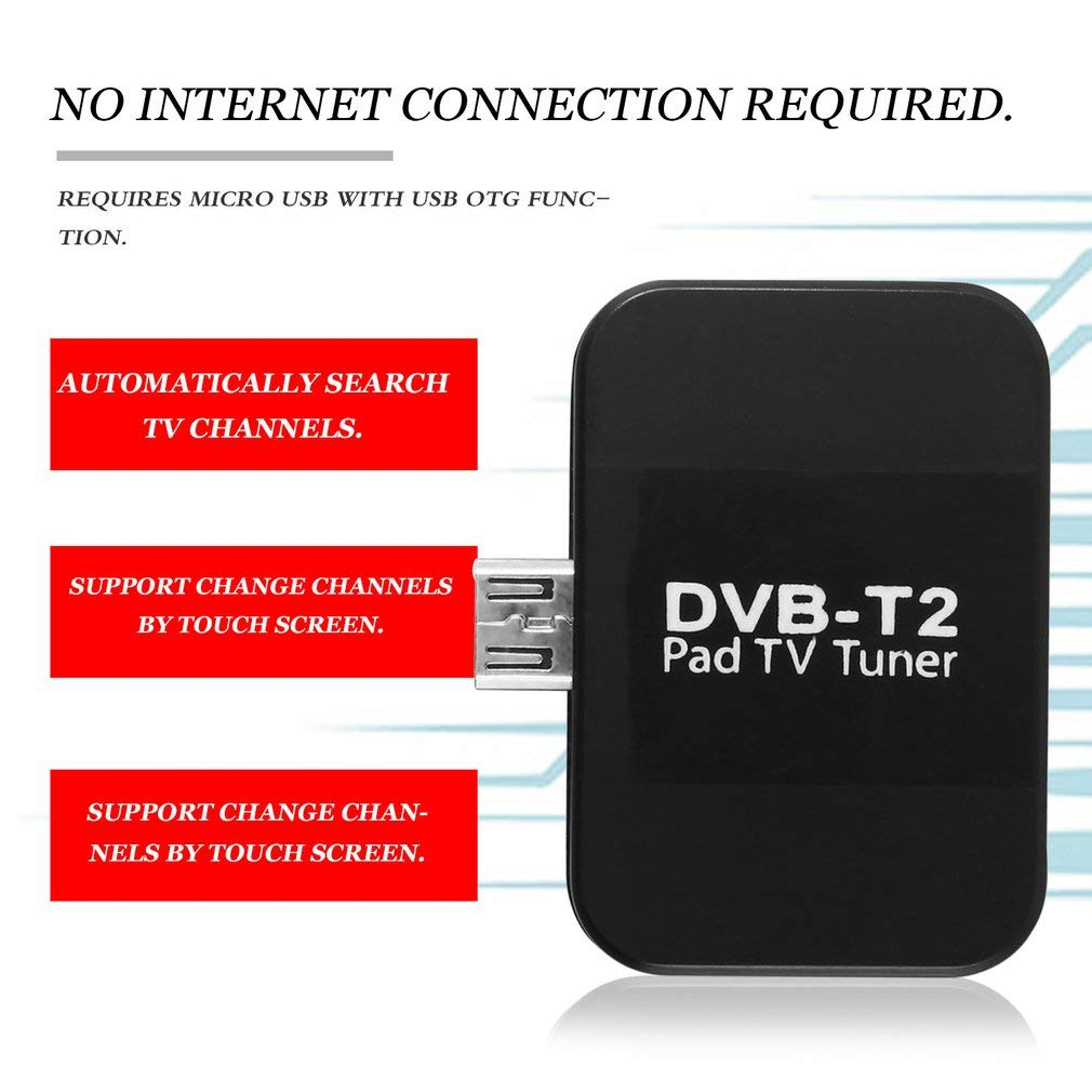 Leoboone DVB-T2 Receptor Micro-USB Tuner Mobile TV Receiver Stick For Android Tablet Pad 48.25~863.25 MHz Frequency Receiver