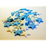 Birthday Party Cupcake Cake Decorations - 50 Stars 25 Blue - 25 White