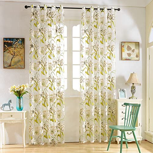 ELEOPTION Decorative Window Treatments Curtains Linen Look Transparent Curtain Voile Curtain