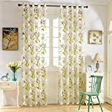 ELEOPTION Decorative Window Treatments Curtains Linen Look Transparent Curtain Voile Curtains For Bedroom, Living Room, Small Windows Curtain Set of 2 (52″ W x 84″ L Inch Per Panel, Flower-Green) Review