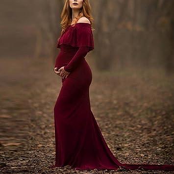 Mujeres embarazadas Sexy fotografía accesorios off hombros volantes enfermería vestido largo Fotografía apoyos embarazadas para sesión de fotos ropa de ...