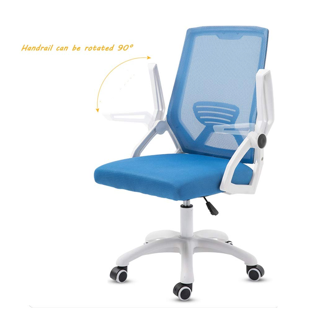 Kontorsstol, högrygg verkställande svängbar kontorskontorsstol ergonomisk räcke justerbart gallersäte (färg: Blå) BLÅ