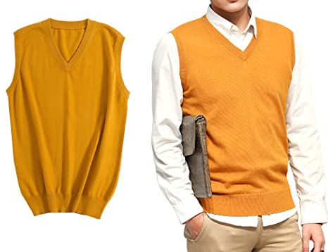 Farlenoyar Mens Cashmere Sweater Vest V-Neck Sleeveless Sweater ...