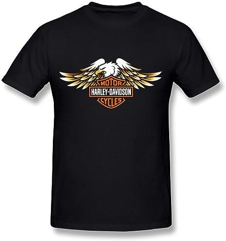 Fkyceun Hombres de Harley Davidson Logo T Shirts Negro