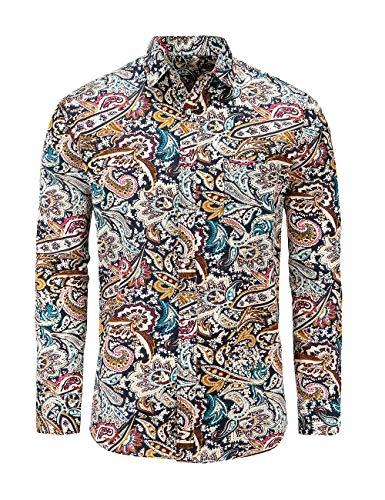 Jandukar Men's Paisley Cotton Long Sleeve Casual Button Down Shirt(NavyBoho,3XL)