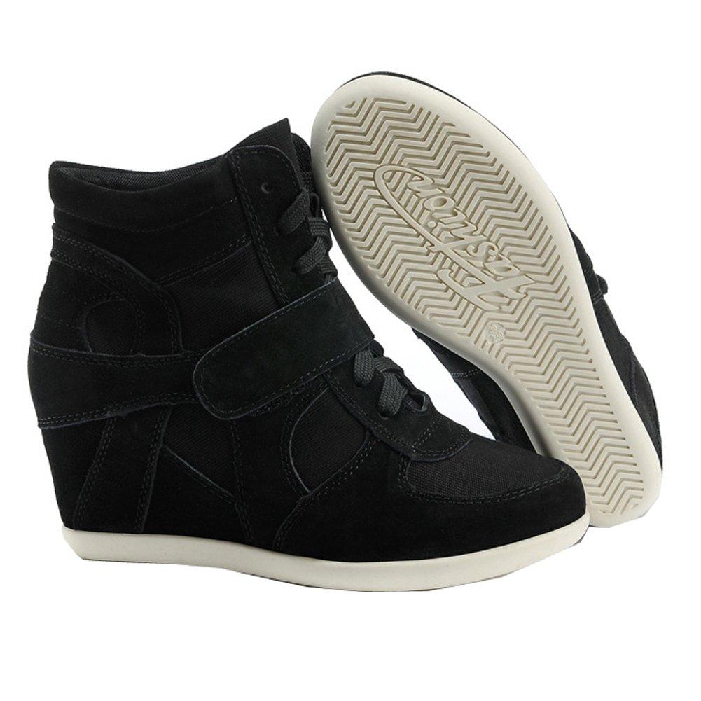 rismart Donna Zeppa in Cima Cuneo Lavoro Informale Lacci Fibbia Fibbia Lacci Sneaker Scarpe Nero 7a7e64