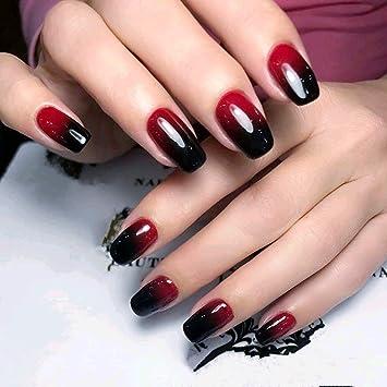 Amazoncom 24 Pcs Black Full Cover Short False Gradient Jewelry Red