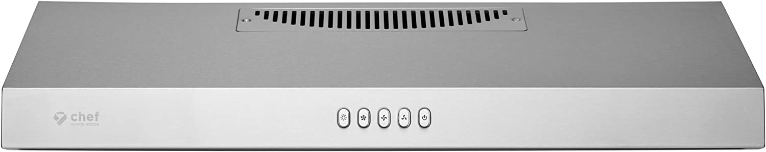 """Hauslane   Chef Series 30"""" PS16 Under Cabinet Recirculating Range Hood, Stainless Steel   Mechanic Button Control, Aluminum Filters, LED Lamps, 3-Way Venting Options or Ductless"""