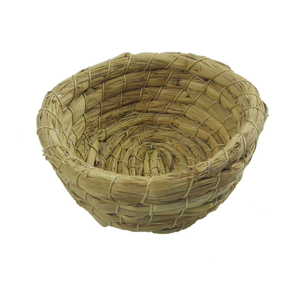 UEETEK Handmade Craft Straw Bird Nest, Artificial Weave Bird Nest For Parrot Macaw African Greys Budgies
